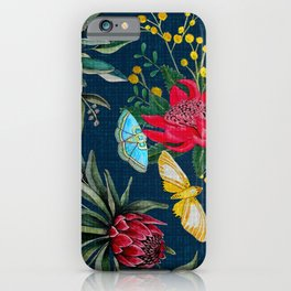Protea and Watarah with golden wattle, Australian flowers and butterfly moths painted in watercolor iPhone Case