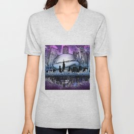 chicago city skyline Unisex V-Neck