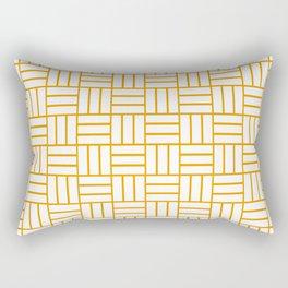 Basketweave (Orange & White Pattern) Rectangular Pillow