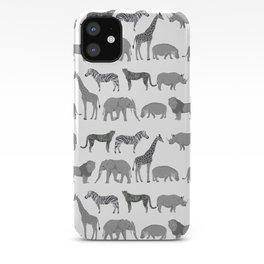 Safari animals minimal grey and white zebra giraffe cheetah hippo rhino nursery iPhone Case