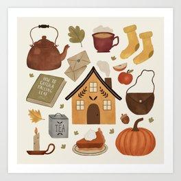 Autumn Cottage Days Art Print