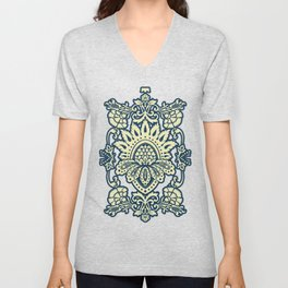 damask in white and blue vintage Unisex V-Neck