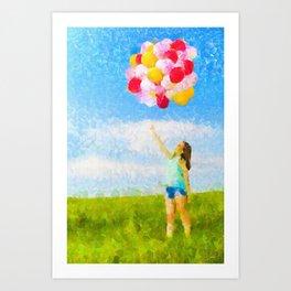 A Menina dos Balões Coloridos Art Print