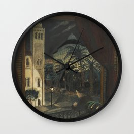 Algiers, Mediterranean Casbah Street Scene by Nikolai Astrup Wall Clock