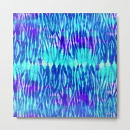 Bright Blue and Acqua Shibori Metal Print