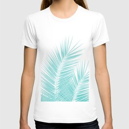 Soft Turquoise Palm Leaves Dream - Cali Summer Vibes #1 #tropical #decor #art #society6 T-shirt