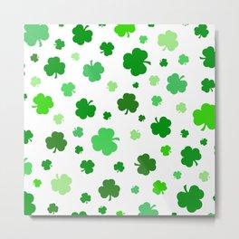 Green Shamrock Pattern Metal Print