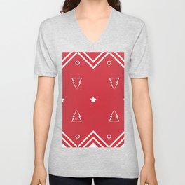 Christmas Tree Pattern #xms #holidays #festive #decor #red #white #kirovair Unisex V-Neck