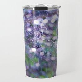 orb weaver spider web - purple bokeh Travel Mug