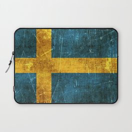 Vintage Aged and Scratched Swedish Flag Laptop Sleeve
