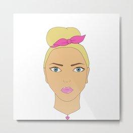 Stylish blond girl. Art. Metal Print