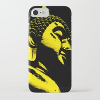 buddah iPhone & iPod Cases featuring Buddah Head 01; Gold  by Kether Carolus