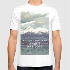 Not all those who wander are lost White MEDIUM Mens Fitted Tee