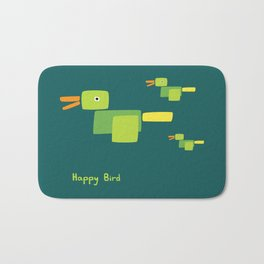 Happy Bird-Green Bath Mat