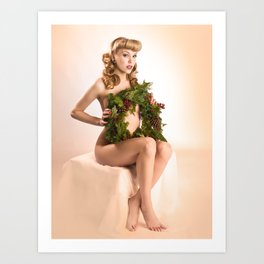 """""""Better Than an Ugly Sweater"""" - The Playful Pinup - Christmas Wreath Pin-up by Maxwell H. Johnson Art Print"""