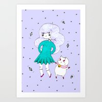 puppycat Art Prints featuring Bee and Puppycat  by Alxndra Cook
