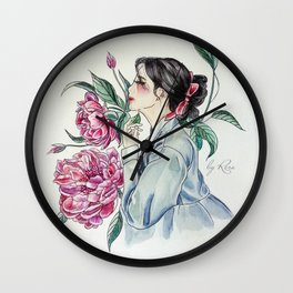 Peonies (Hanbok girls) Watercolor Wall Clock