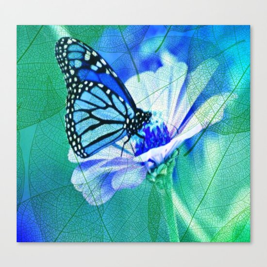 Butterfly, Flower And Leaves Canvas Print