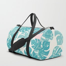 Linocut Monstera Rosy Duffle Bag