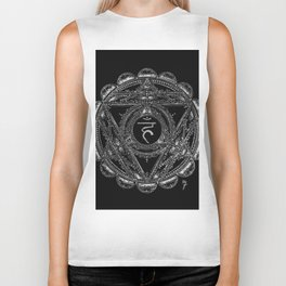 Black and White Throat Chakra Biker Tank
