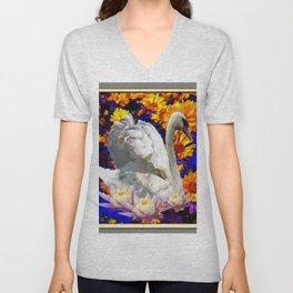 WHITE SWAN YELLOW-BLUE FLOWERS  MODERN ART Unisex V-Neck