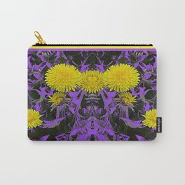 Decorative Purple-Black Yellow Dandelion Abstract Art. Carry-All Pouch