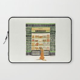Hungry dog at Paul Boulangerie, Paris Laptop Sleeve
