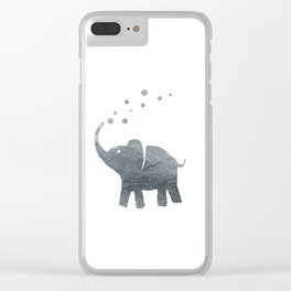 Silver Elephant Blowing Bubbles Clear iPhone Case