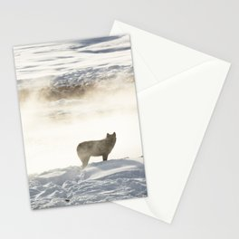 Yellowstone National Park - Wolf and Hot Spring Stationery Cards