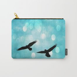 Surreal Ethereal Ravens Flying Sky Nature Aquamarine Blue Bokeh Circle Fantasy Fairy Tale Nature Gothic Ravens Carry-All Pouch