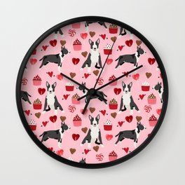 Bull Terrier valentines day love cupcakes hears dog breed pet friendly gifts Wall Clock