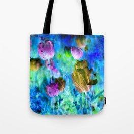 Blue Ocean of Tulips Tote Bag