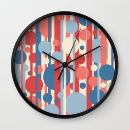 Stripes and circles color mode #3 Wall Clock