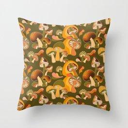 70s Mushroom, Retro Pattern Throw Pillow