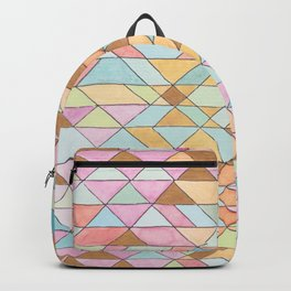 Triangle Pattern No. 25 Gold Pink Turqouise Backpack