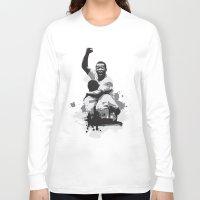 brazil Long Sleeve T-shirts featuring Pele Brazil by Søren Schrøder