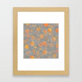 Fancy orange Dot Pattern on grey Framed Art Print