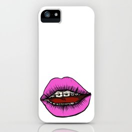 Pink Lips and Metal iPhone Case