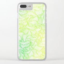 Green Yellow Geometric Waltz Clear iPhone Case