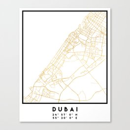 DUBAI UNITED ARAB EMIRATES CITY STREET MAP ART Canvas Print