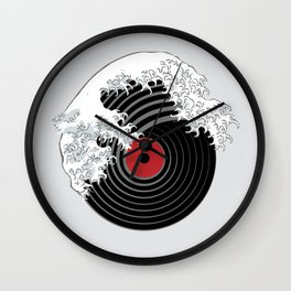 The Great Wave of Music DJ Vinyl Record Turntable Hokusai Wall Clock