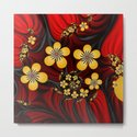 Yellow Fantasy Flowers On Red And Black by gabiwart