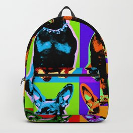 Poster with portrait of a miniature pinscher dog in pop art style Backpack