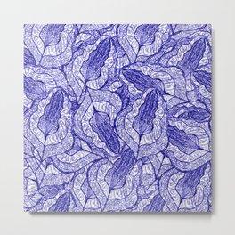 pen and ink fallen leaves doodle pattern 2 Metal Print