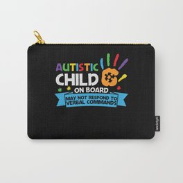 Autistic Child on Board May Not Respond Autism Carry-All Pouch