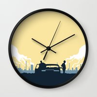 true detective Wall Clocks featuring True Detective by Carlos Asensi