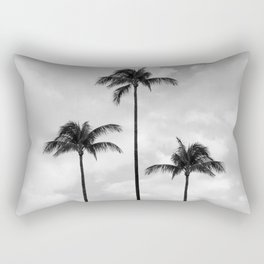 Palm Tree Photography   Black and White   Landscape  Tropical   Travel   Beach   Sky   Clouds  Rectangular Pillow