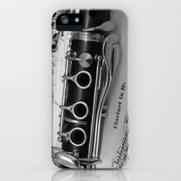 B Flat Clarinet in Black & White iPhone Case