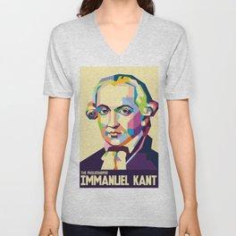 Immanuel Kant in Pop Art Unisex V-Neck