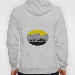 Tow Truck Towing Car Buildings Oval Woodcut Hoody